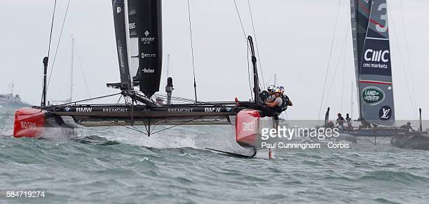 The Oracle team USA yacht while tacking on July 24 2016 in Portsmouth England