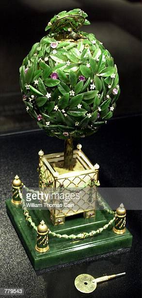 The Orange Tree Imperial Easter Egg part of the Faberge Collection sits on display at the First USA Riverfront Arts Center September 14 in Wilmington...