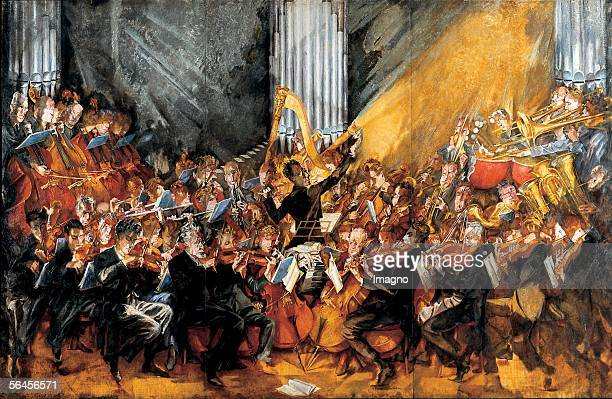 The orchestra Gustav Mahler conducting the Vienna Philharmonic Orchestra Oil on Canvas by Max Oppenheimer 19351952 [Max Oppenheimer Das Orchester...