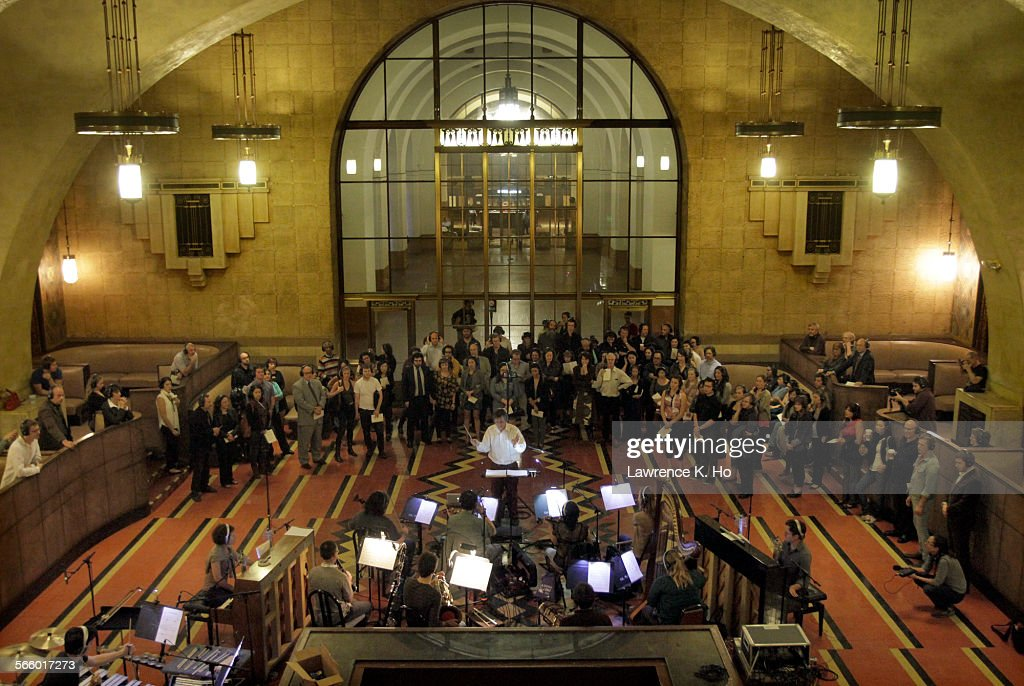 "The orchestra in the dress rehearsal of the opera ""Invisible Cities,"" in Union Station in Los Angel : News Photo"
