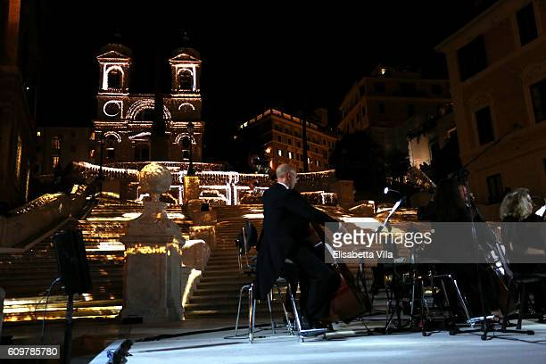 The Orchestra of Accademia Nazionale of Santa Cecilia of Rome conducted by Sir Antonio Pappano during the Bvlgari Tribute To Spanish Steps Opening...