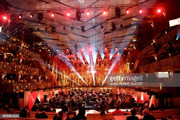 TOPSHOT The orchestra of the Opera of Lyon rehearses before the Victoires de la musique classique award ceremony at the Grange au Lac auditorium in...