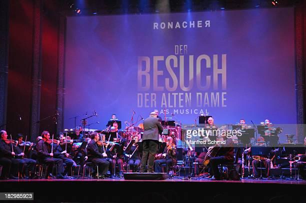 The orchestra of Vereinigte Buehnen Wien perform on stage during 'Der Besuch der alten Dame' press conference and photocall at Ronacher Theater on...