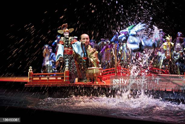 The orchestra pit is transformed into a pond on January 5 2012 during the rehearsal of the new production of the Dutch Opera The Nightingale and...