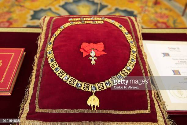 The Order of Golden Fleece detail are displayed at the Royal Palace on January 30 2018 in Madrid Spain Today is King's Felipe 50th birthday