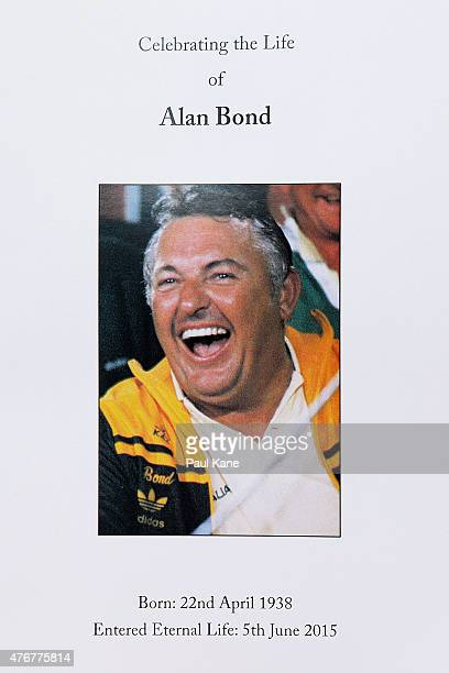 The order of service booklet for the funeral of Alan Bond is photographed at St Patrick's Basilica on June 12 2015 in Perth Australia Australian...