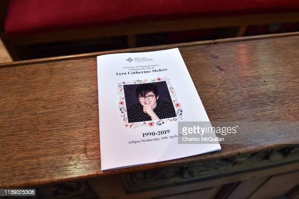 The order of service for the funeral for journalist Lyra McKee at St Anne's Cathedral on April 24 2019 in Belfast Northern Ireland Journalist and...