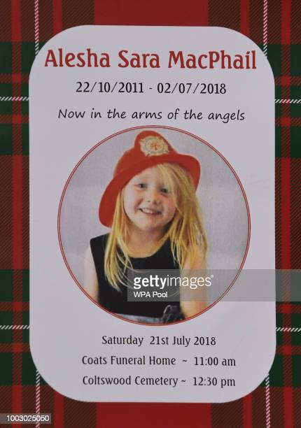 The order of service for the funeral of sixyearold Alesha MacPhail at the Coats Funeral Home on July 21 2018 in Coatbridge Scotland Alesha MacPhail's...