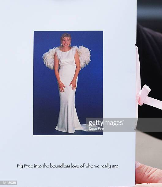 The Order Of Service is seen at the Funeral of Caron Keating following her death from breast cancer last week at Hever Church in Edenbridge on April...