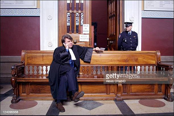 The Order of the Solar Temple trial second day in Grenoble France on April 18 2001 Mr Collard lawyer of private party