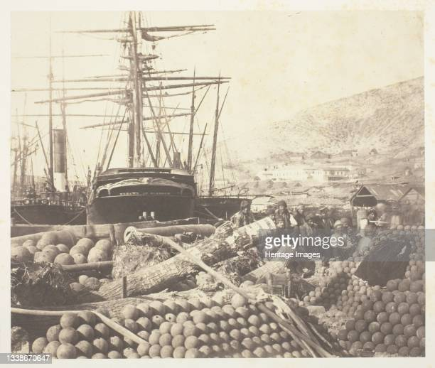 The Ordnance Wharf, Balaklava, 1855. A work made of salted paper print, from the album 'photographic pictures of the seat of war in the crimea' ....