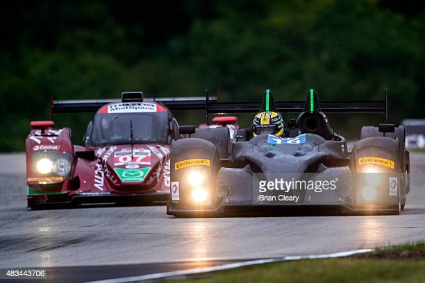 The ORECA FLM09 of James French and Conor Daly leads the Mazda Prototype of Tom Long and Joel Miller during practice for the IMSA Tudor series race...