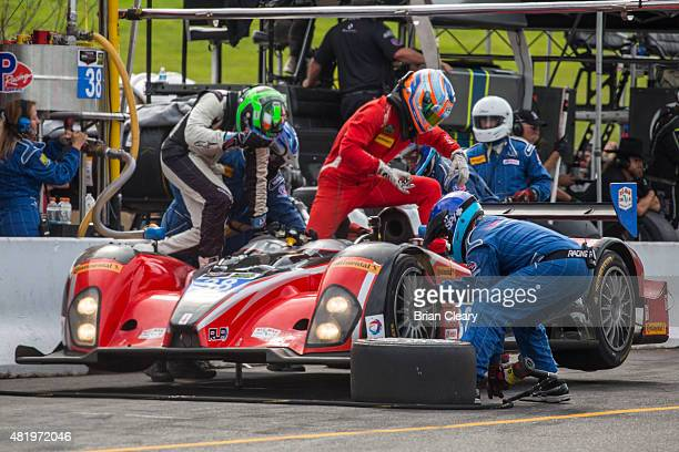 The ORECA FLM09 of James French and Conor Daly makes a pit stop during the Northeast Grand Prix at Lime Rock Park on July 25 2015 in Lakeville United...
