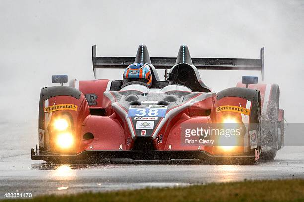 The ORECA FLM09 of James French and Conor Daly races in the rain during practice for the IMSA Tudor Series race at Road America on August 7 2015 in...