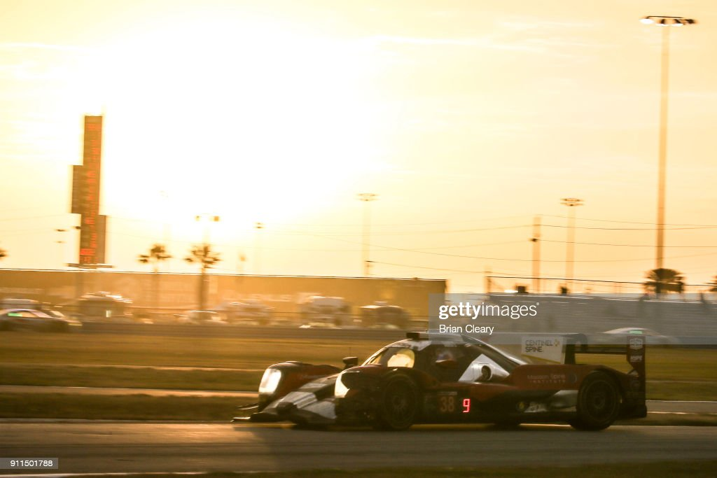 The #38 ORECA LMP 2 of James French, Pato O'ward. of Mexico, Kyle Masson and Joel Miller races on the track during the Rolex 24 at Daytona IMSA WeatherTech Series race at Daytona International Speedway on January 28, 2018 in Daytona Beach, Florida.