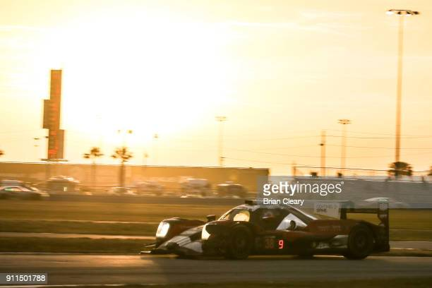 The ORECA LMP 2 of James French Pato O'ward of Mexico Kyle Masson and Joel Miller races on the track during the Rolex 24 at Daytona IMSA WeatherTech...