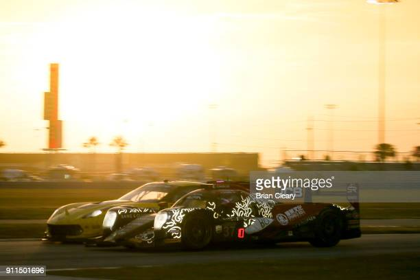 The ORECA LMP 2 of Lance Stroll of Canada Felix Rosenqvist of Sweden Robin Frijns of the Netherlands and Daniel Juncadella of Spain races on the...