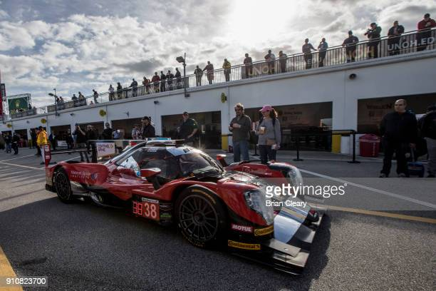 The ORECA LMP2 of James french Kyle Masson Pato O'Ward of Mexico and Joel Miller drives in the garage during pratice before the Rolex 24 at Daytona...