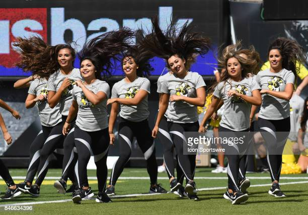 The Oregon cheerleaders perform during a college football game between the Nebraska Cornhuskers and Oregon Ducks on September 9 at Autzen Stadium in...