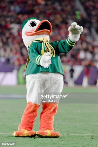 The Oregon Duck mascot appears at the Pac12 Championship game between the USC Trojans and the Stanford Cardinal on December 1 2017 at Levi's Stadium...