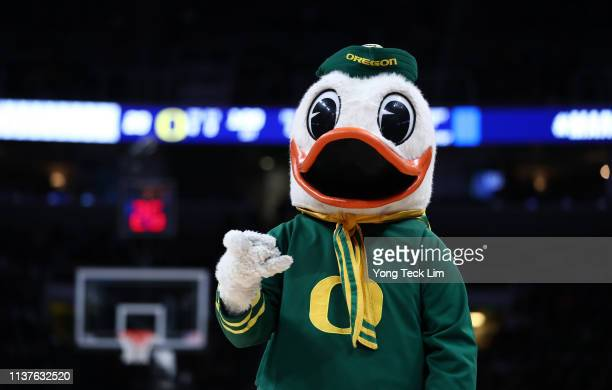 The Oregon Ducks mascot in the first half during the first round of the 2019 NCAA Men's Basketball Tournament at SAP Center on March 22 2019 in San...