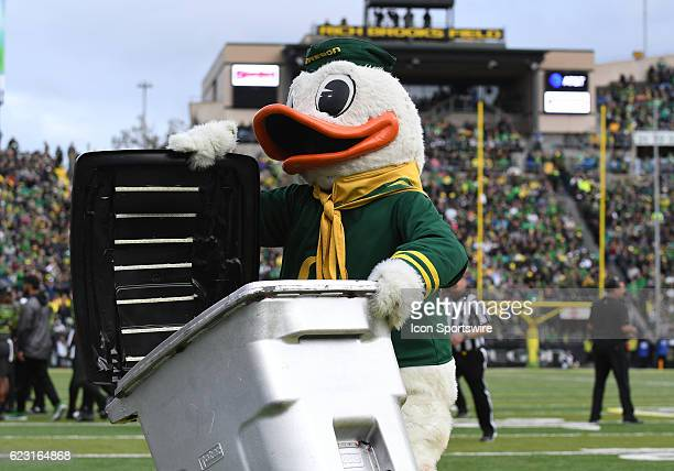 The Oregon Ducks mascot performs during a PAC12 NCAA football game between the Oregon Ducks and the Stanford Cardinal on November 12 at Autzen...