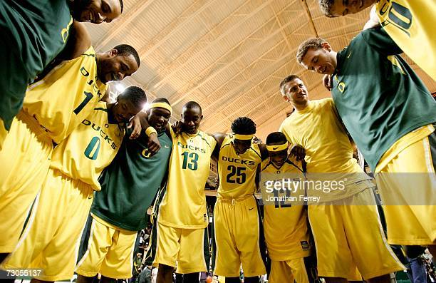 The Oregon Ducks players huddle at the end of their 9284 victory over the California Golden Bears on January 20 2007 at McArthur Court in Eugene...
