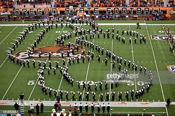 The Oregon State Beavers marching band perform during the game against the the Stanford Cardinal Beavers on November 5, 2011 at Reser Stadium in...