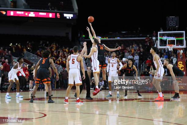 The Oregon State Beavers win the tip off against the USC Trojans during a college basketball game at Galen Center on February 23 2019 in Los Angeles...