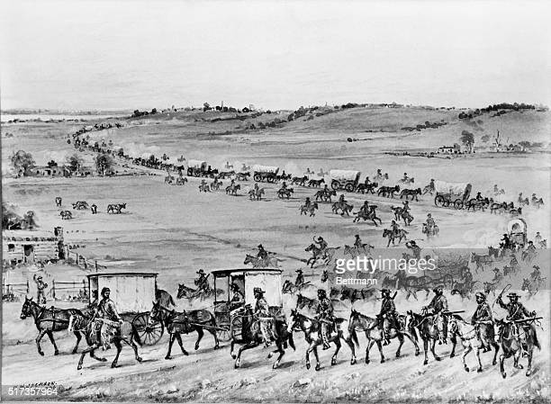 illustration depicting the first covered wagon caravan led by SmithJacksonSublette consisting of ten wagons drawn by five mules each heading for Wind...