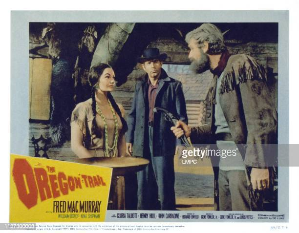 The Oregon Trail US lobbycard from left Gloria Talbott Fred MacMurray John Dierkes 1959