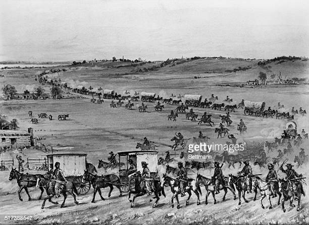 the first covered wagon caravan led by SmithJacksonSublette consisting of ten wagons drawn by five mules each heading for the Wind River valley near...