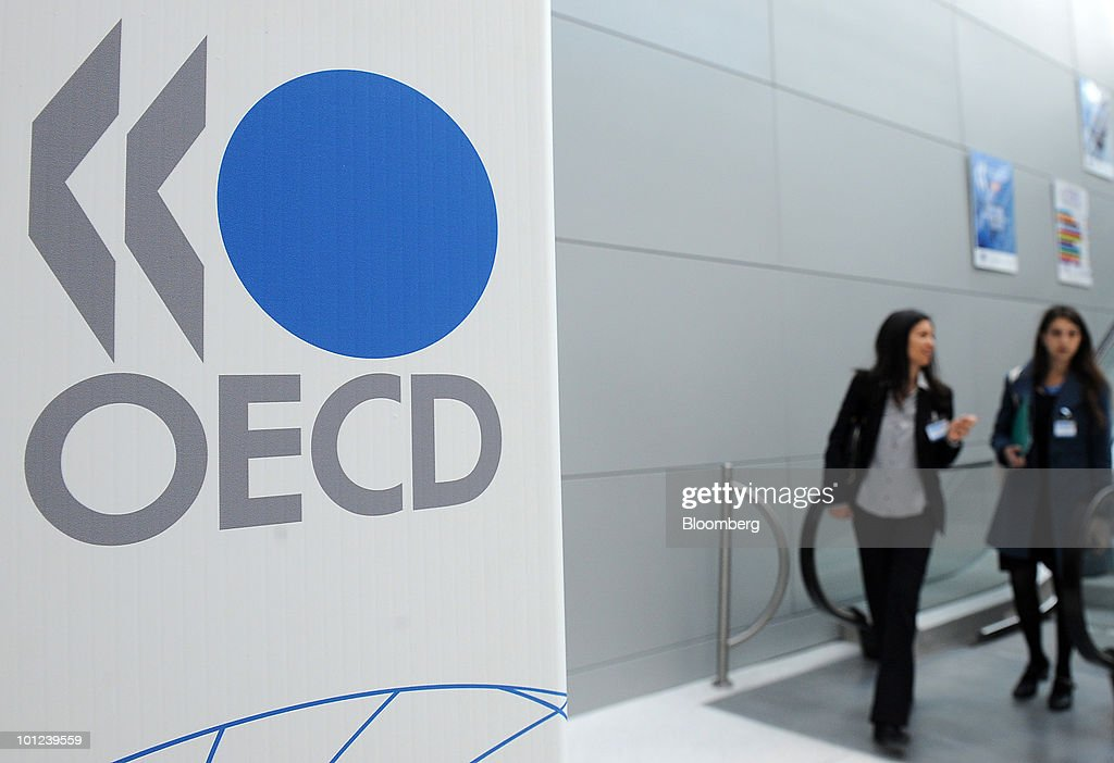 The Organisation of Economic Cooperation and Development (OECD) logo is seen at the company's headquarters in Paris, France, on Friday, May 28, 2010. Slovenia, along with Israel and Estonia, are joining the Paris-based organization of 31 of the world's most developed economies. Photographer: Antoine Antoniol/Bloomberg via Getty Images