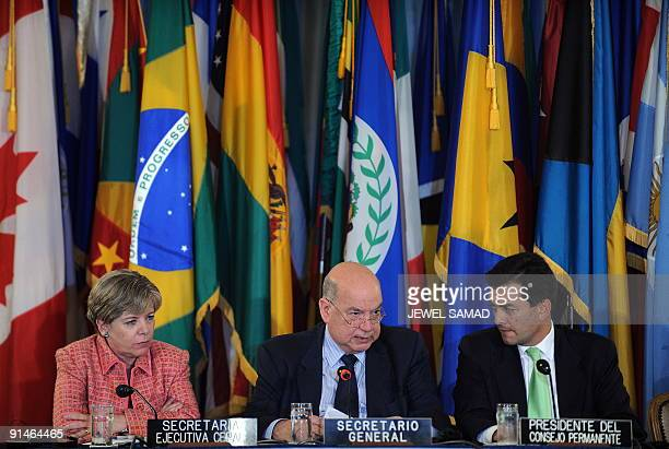 The Organization of American States Secretary General Jose Miguel Insulza speaks as Alicia Barcena executive secretary of the United Nations Economic...