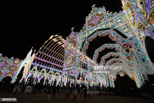 The organizers check the lighting at the venue of the Kobe Luminarie light festival in Kobe on Dec 4 2017 The festival to be held Dec 8 to 17...