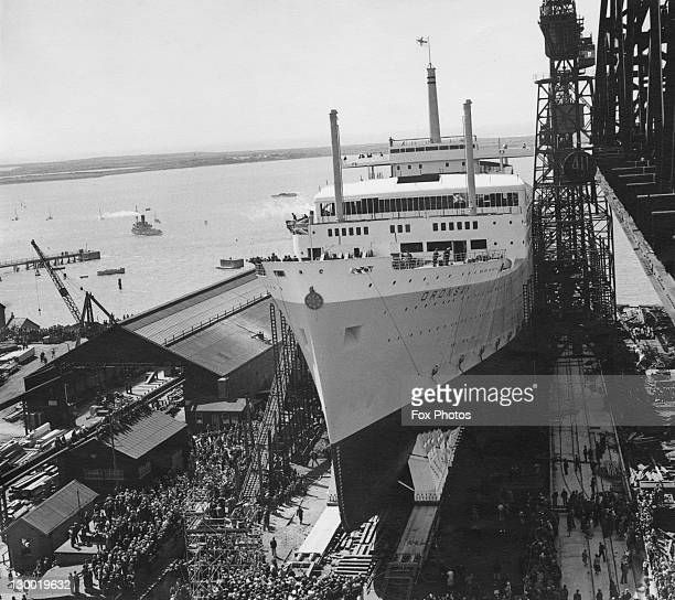 The Orient Line cruise ship and liner SS Oronsay about to be launched at the Vickers Armstrong shipyards in BarrowinFurness Cumbria 30th June 1950