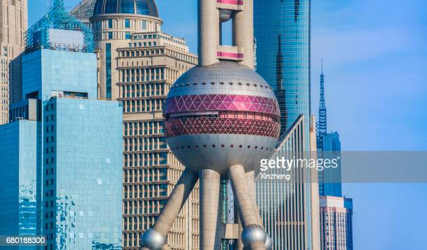 the oriental pearl tower - oriental pearl tower shanghai stock pictures, royalty-free photos & images