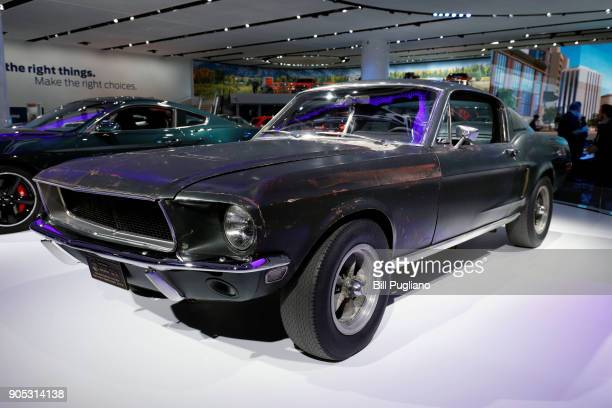 The original 1968 Ford Mustang Bullitt movie car is shown on display at the Ford exhibit at the 2018 North American International Auto Show January...