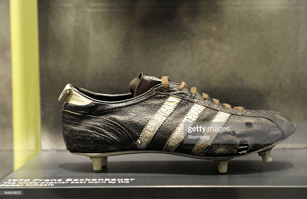 The original Adidas football boot worn by Germany's Franz Be : News Photo