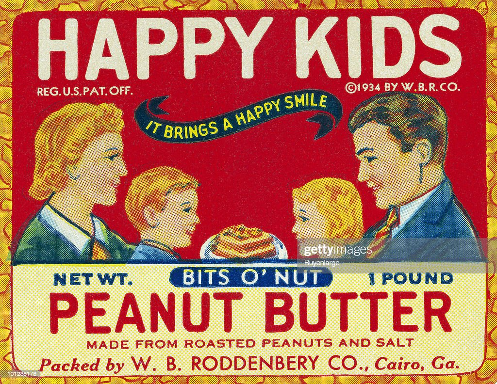 The original bottle label to a jar of peanut butter.