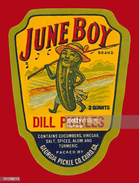 The original bottle label to a jar of pickles featuring a 'pickle person.'