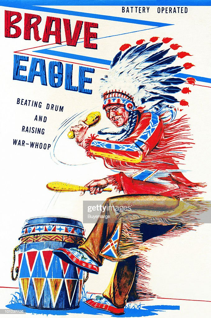 The original box art for a tin toy featuring a native American.