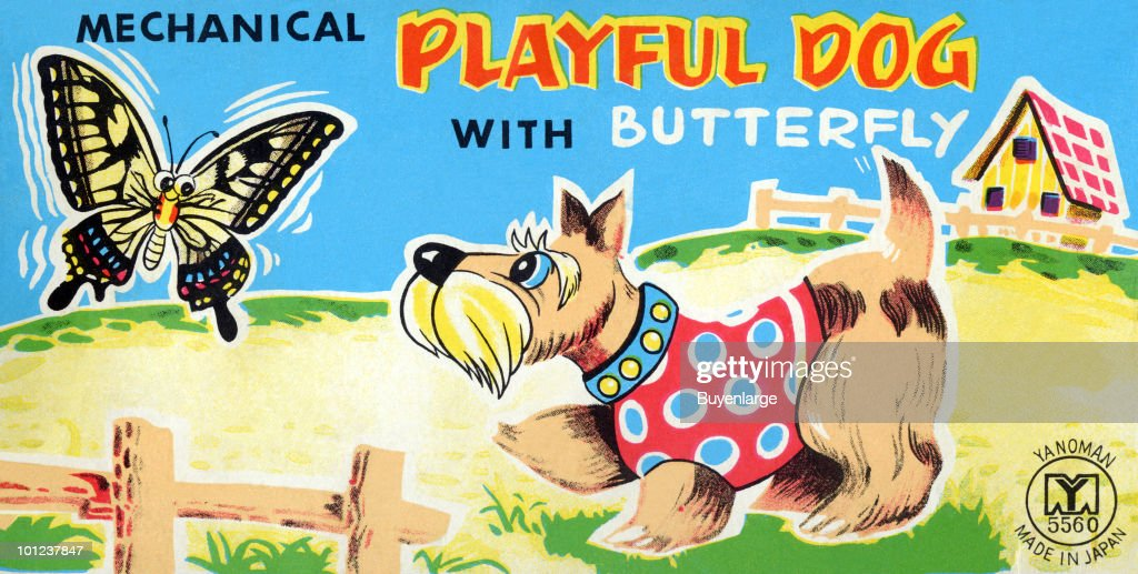 The original box art for a tin toy featuring a wind-up terrier chasing a butterfly.