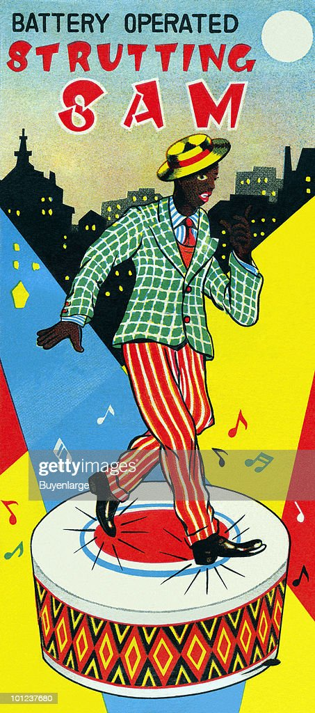 The original box art for a tin toy featuring an african american man dancing jazz or tap.