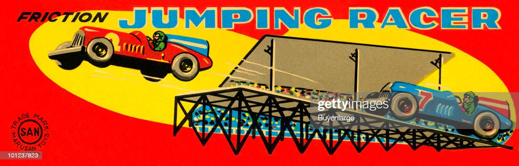 The original box art for a tin toy race car that operates on friction.
