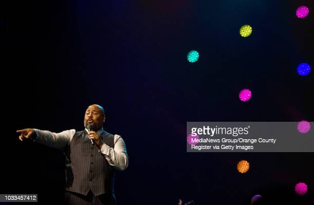 The original Broadway Tony Awardwinning Genie from 'Aladdin' James Monroe Iglehart pleases the crowd with his wit and singing voice during the D23...