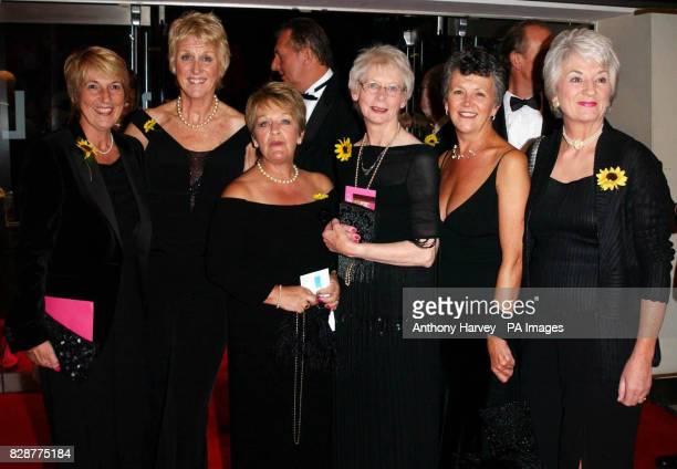 The original Calendar Girls from left to right Angela Baker Tricia Stewart Ros Fawcett Beryl Bamforth Lynda Logan and Christine Clancy arrive for the...