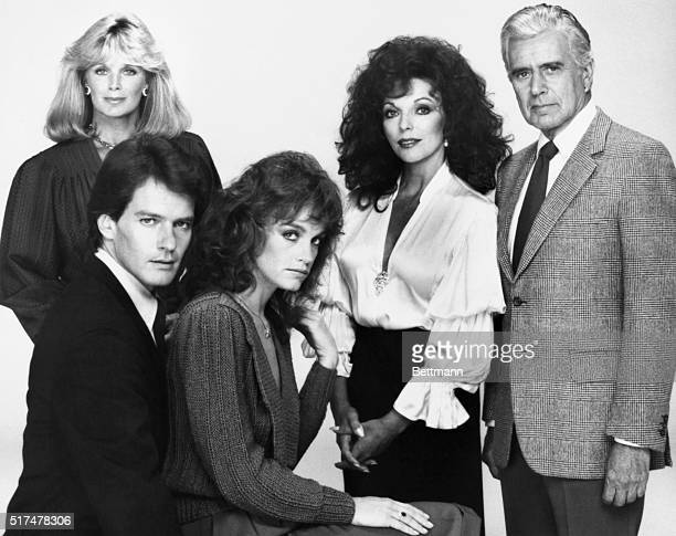 The original cast from the popular and longrunning TV series Dynasty Left to right Linda Evans Joan Collins and John Forsythe Seated Pamela Sue...