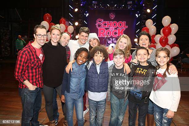 The Original Cast Members celebrate the 1 Year Anniversary of the hit musical ' The School of Rock' on Broadway at The Winter Garden on December 6...
