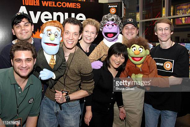 The Original Cast of Avenue Q during The Avenue Q Original Cast Sign Their New CD at Tower Records in New York City New York United States